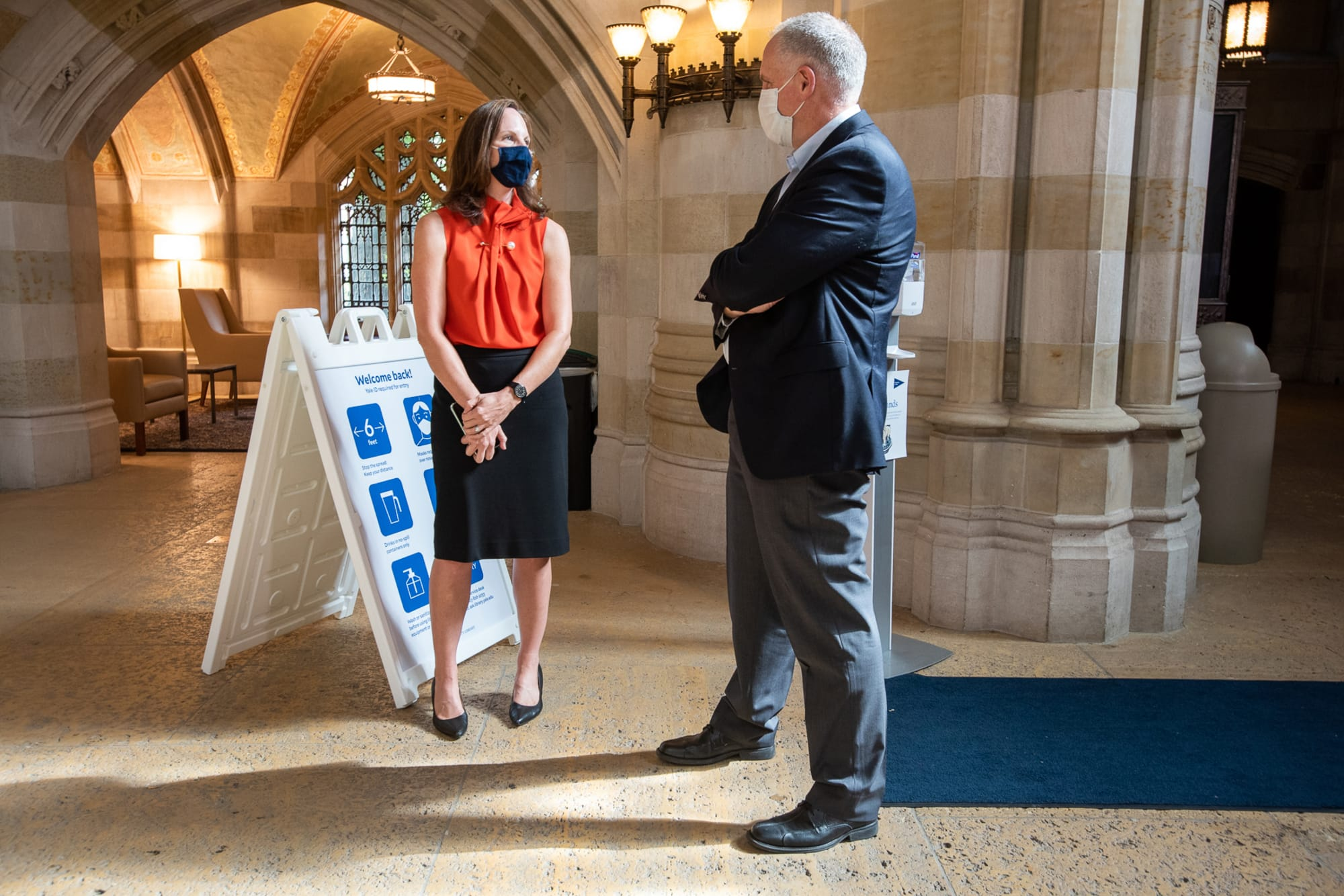 University Librarian Barbara Rockenbach and Provost Scott Strobel in the Sterling Library Nave. Photo by Mara Lavitt