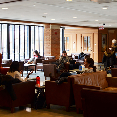 Students studying in Bass Library near windows