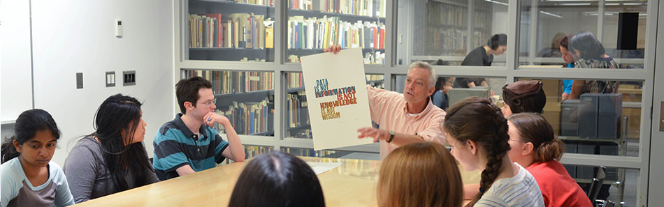 Materials from the Haas Arts Library being used for in-class instruction