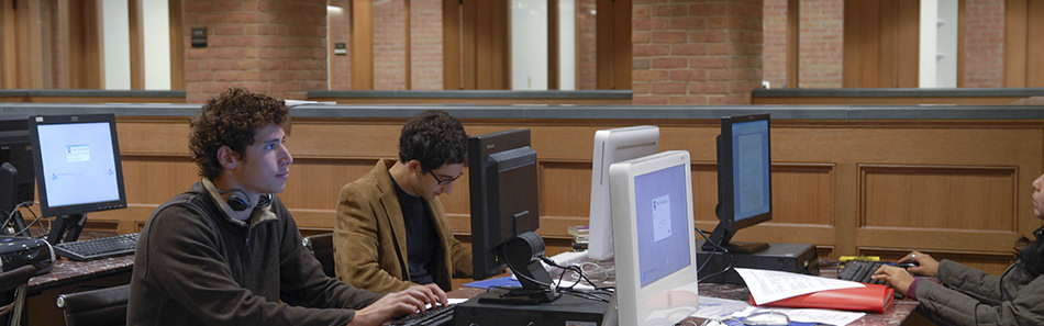 Students using the computers in the Anne T. and Robert M. Bass Library