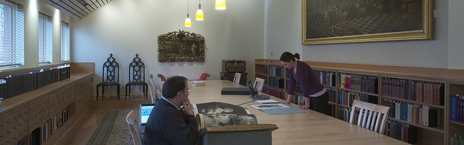 The reading room in the Lewis Walpole Library
