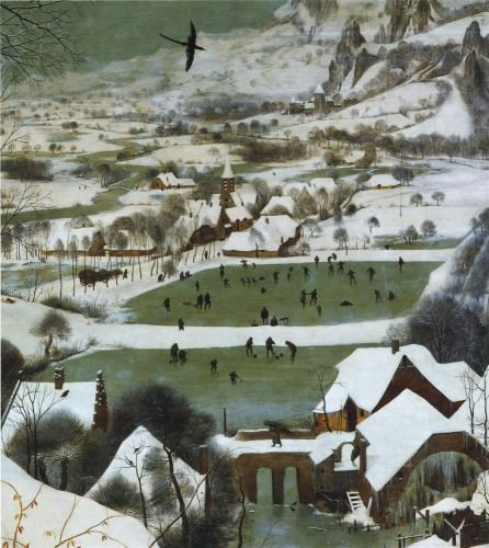 Pieter Bruegel, I. Hunters in the Snow: Detail of ice skating and curling. 1565