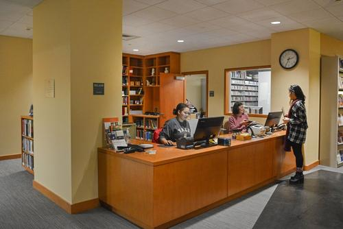 Photograph of the Gilmore Music Library circulation desk