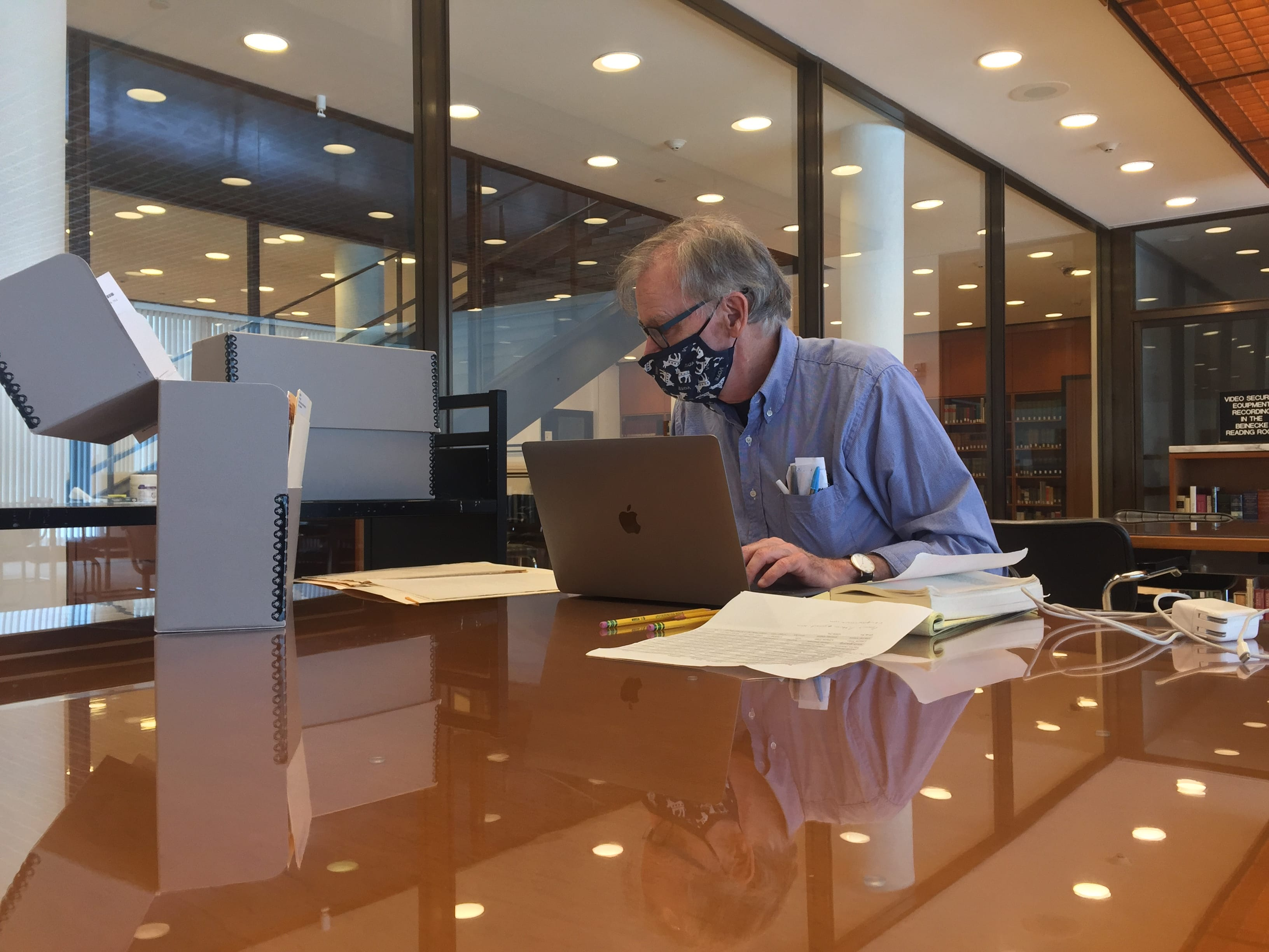 Prof. David Blight in the Beinecke reading room. Photo by Mara Lavitt
