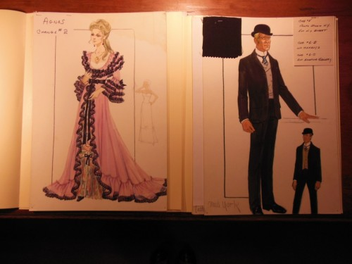 A costume design for Tiffany, and a costume design for Butch Cassidy, designed by Edith Head