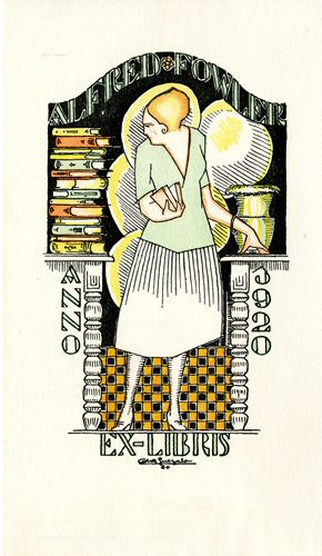 Bookplate of Alfred Fowler by Antonio de Guezala, 1920, 15.1 x 8.8 cm.