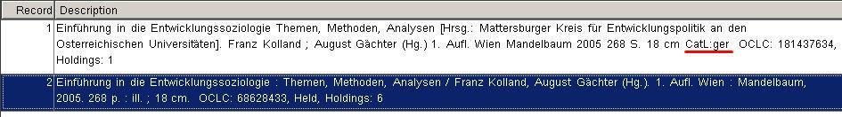 OCLC index language of cataloging