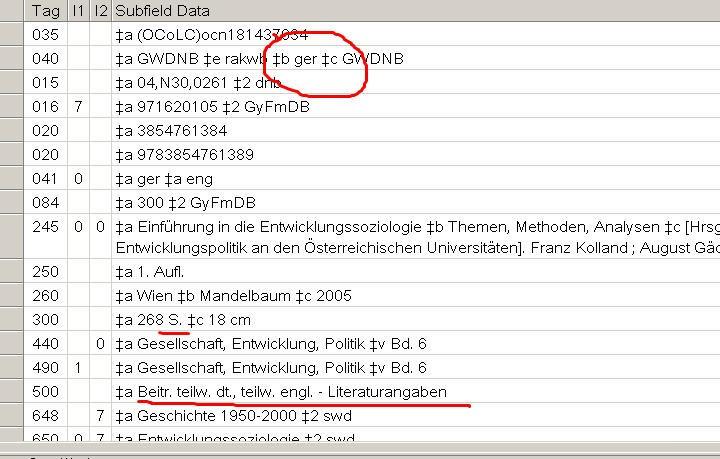 German language cataloging