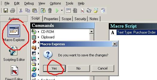 Macro Explorer Save