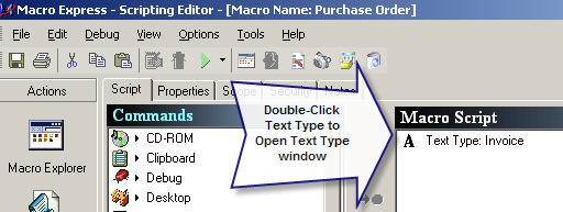 Open Text Type Window