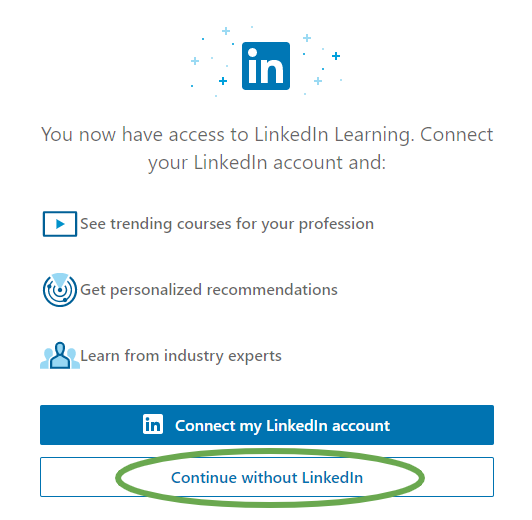 LinkedIn Learning first time log-in
