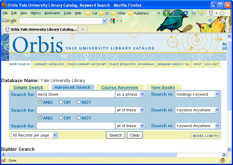 Searching for 541 gift information in the opac yale university library searching for 541 gift information in the opac stopboris Choice Image