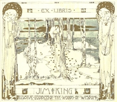 [Ex Libris Jim King] by Jessie M. King, circa 1911, 9.0 x 10.3 cm.