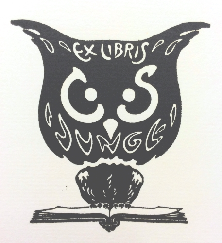 [Ex libris C. S. Junge] by Carl S. Junge, [1916?], 6.5 x 6 cm. Carl S. Junge Collection (BKP 156), Robert B. Haas Family Arts Library, Yale University.