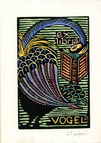 [Ex Libris Vogel] by Anna Macková, 1920, 17.7 x 12.4 cm.
