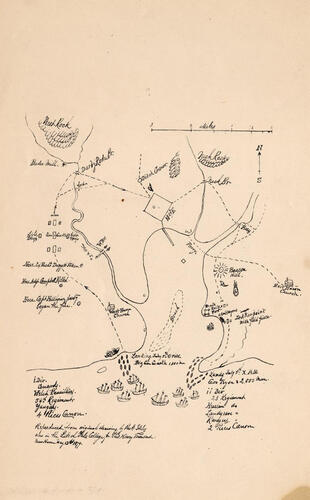 hand drawn map of British invasion of New Haven