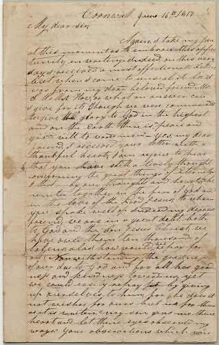 Letter from Henry Obookiah, sent from Cornwall, Connecticut, to Samuel Wells, Jr. of Greenfield, Massachusetts, dated 16 June 1817, page 1. Gustave R. Sattig Collection (MS 1429), Box 1, folder 17. Manuscripts and Archives, Yale University Library.