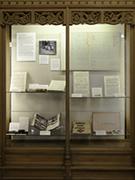 Memorabilia shelf in Sterling Memorial Library
