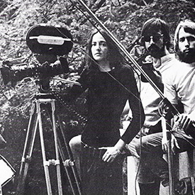Image of Alexis Krasilovsky (center) with other Yale filmmakers