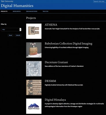 Yale Digital Humanities faculty projects
