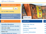sample page from the redesigned library web site, African Collection