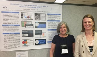 Professors Laura Wexler and Courtney Rivard standing by their poster
