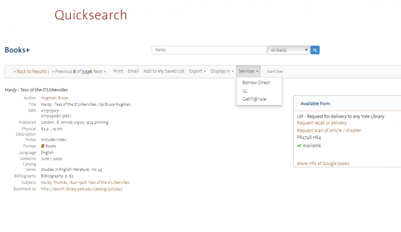 Ordering Materials with Quicksearch