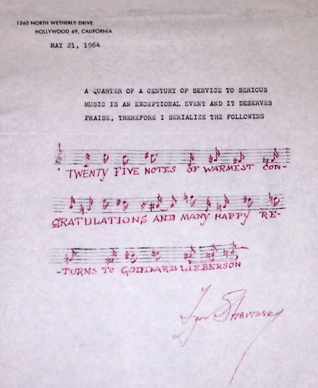 Note from Stravinsky