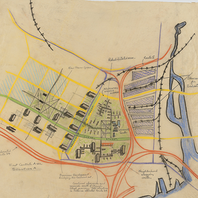 hand-drawn map showing proposed Wooster Square redevelopment in New Haven.