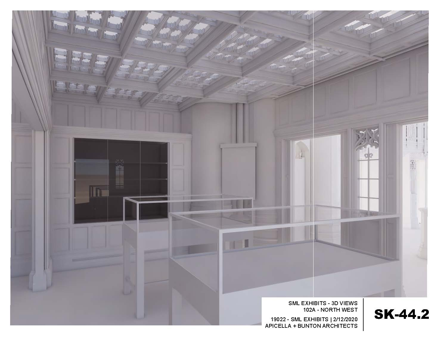architect's rendering of gallery display cases