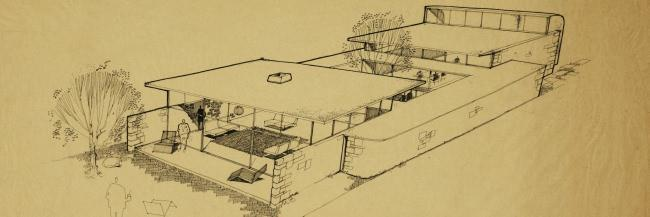 Drawing of the Manuscript Society House in New Haven, Connecticut.
