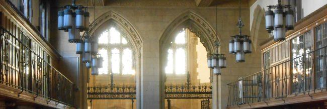 Light shining through the windows behind the Manuscripts and Archives Reading Room.