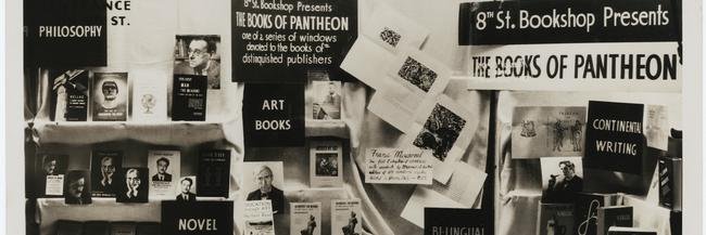 Photo of 8th St. Bookshop window display of Pantheon books