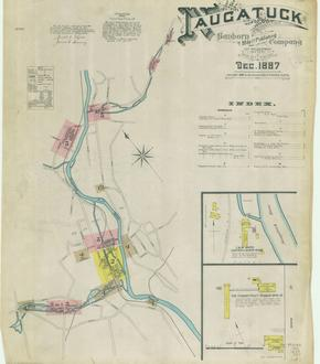 1887 Insurance map of Naugatuck, Connecticut, showing L&W Ward Curtain and Screw Rings, and the Connecticut Rubber Mfg.