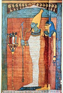 Osiris was associated with mortuary affairs. This picture is a good prototypical depiction of how Osiris usually appeared in Egyptian iconography. He is often shown in wrappings like a mummy, carrying the crook and flail and donning the White Crown of Upper Egypt, as he is shown here.