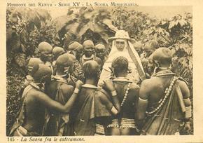 "Image Missionary sister with natives - ""La Suora fra le catecumene"" -"