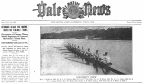 Yale Daily News June 1, 1918. Front page shows Yale rowers and refers to World War I battle at the Marne.