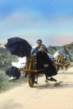Hand-colored lantern slide from collection of China missionary Rolland Welch