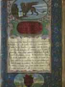 illuminated page from 16th century Italian Law book