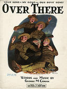 Over There sheet music front cover, with illustration by Norman Rockwell