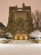 Sterling Memorial Libray in the snow
