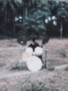 Tony Williams plays a drum kit in Senegal in a field with palm trees behind him