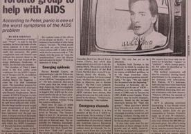 A newspaper article announcing the start of the AIDS Committee of Toronto. (Box 2, folder 6)