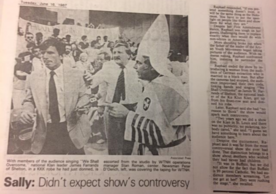 News clipping from an unknown paper documenting the Ku Klux Klan in New Haven for the taping of Sally Jesse Raphael Show, 1987 June 16. Mary Johnson Papers (MS 2050), Box 15, folder 12.