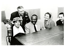 Catherine Basie, Hugues Panassie, Count Basie, Helen Oakley Dance, and Stanley Dance. Paris, 1956. MSS 62, Box 41.
