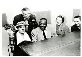 Catherine Basie, Hugues Panassie, Count Basie, Helen Oakley Dance, and Stanley Dance. Paris, 1956. MSS 62, Box 41.