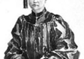 Portrait of Elizabeth Deering Hanscom in her cap and gown, she is the first woman to earn a Ph.D. from Yale.