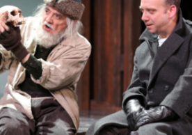 Jarlath Conroy and Paul Giamatti in Hamlet, 2013. Photograph by Joan Marcus for Yale Repertory Theatre.