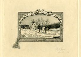 [Ex Libris Herbert Edwin Lombard] by W.F. Hopson, 1915, 10.88 x 13.42 cm. Collection of Bookplates by William Fowler Hopson (BKP 47), Robert B. Haas Family Arts Library, Yale University.