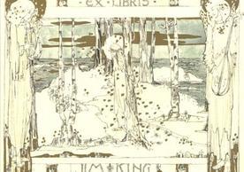[Ex Libris Jim King] by Jessie M. King, circa 1911, 9.0 x 10.3 cm.